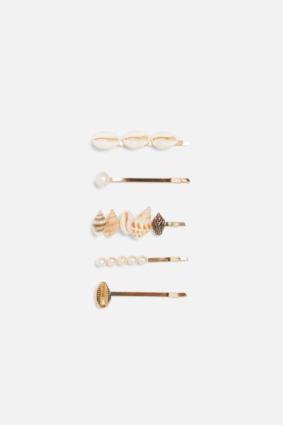 barrettes coquillages et perles
