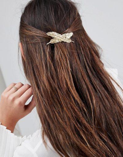barrette gold feuilles