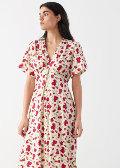 robe &otherstories blanche à fleurs