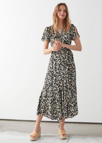 robe &otherstories noire fleurs
