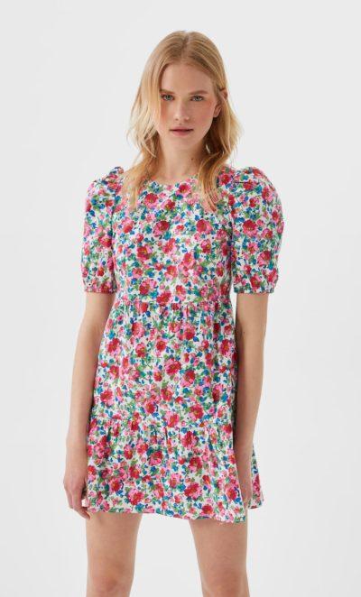 robe stradivarius fleurs roses